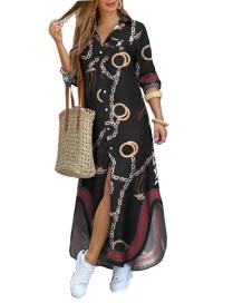 Vestido de blusa larga con estampado de cadenas de otoño y mangas completas