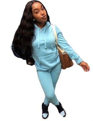 Autumn Solid Color Hoodie Sweatsuit with Front Pocket