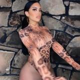 Body de manga larga con estampado salvaje sexy