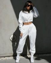 Conjunto de pantalones de chándal y top corto con capucha en blanco de color sólido de otoño