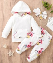 Baby Girl Autumn Floral Hoodie Trainingsanzug mit Stirnband