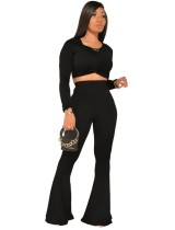 Herbst passendes einfarbiges Crop Top und High Waist Pants Set