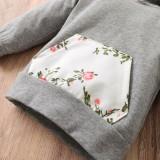 Sudadera con capucha floral de otoño para bebé niña con diadema