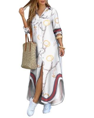 Robe chemisier longue boutonnée à imprimé chaîne d'automne à manches longues