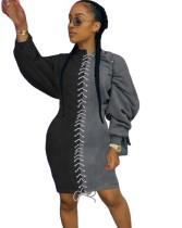 Sonbahar Bağcıklı Kontrast Uzun Kollu Gömlek Elbise