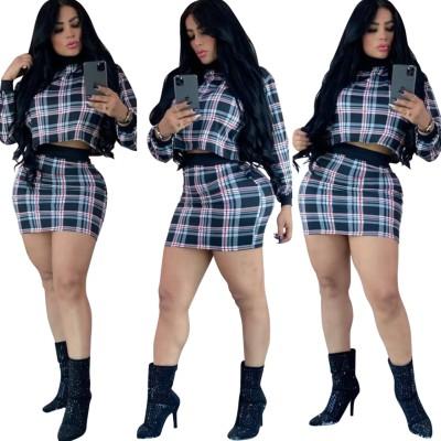 Autumn Matching Plaid Crop Top and Mini Skirt Set