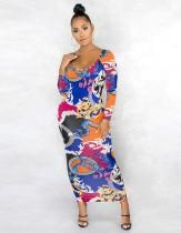 Осеннее платье миди с круглым вырезом и длинными рукавами с африканским ретро-принтом