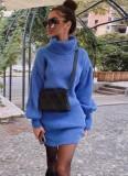 Vestido de suéter con mangas abullonadas de Colar de invierno