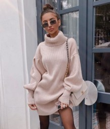 Winter Turndown Colar Puff Sleeves Sweater Dress