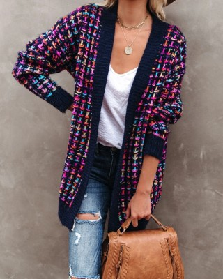 Autumn Colorful Long Cardigans with Full Sleeves