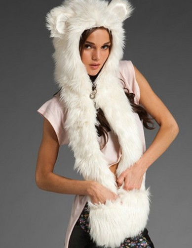 Winter Imitation Fur Animal Hoody Scarf with Pockets