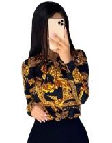 Altın ve Siyah Baskı Retro Uzun Kollu Bluz