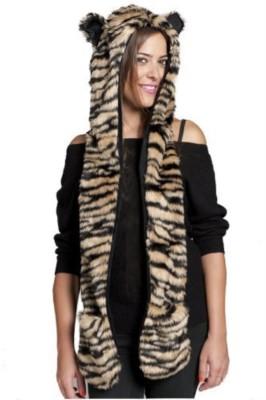 Winter Imitation Fur Animal Hoody Scarf with Pockets