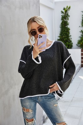 Autumn Blank Round Neck Loose Pullover Sweater with Contrast Trims