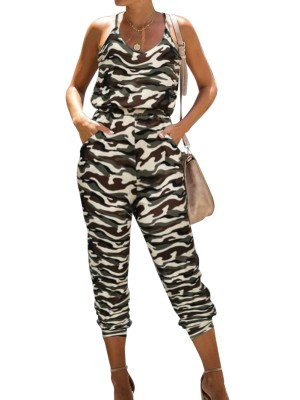 Summer Casual Camou Print Halter Jumpsuit