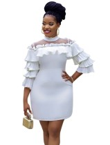 Gelegentliche weiße Rüschen Patchwork kurzes Kleid