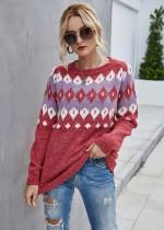 Autumn Geommetric Round Neck Regular Pullover Pullover