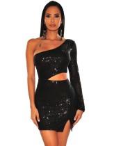 Mini vestido de club con lentejuelas sexy recortado de un hombro
