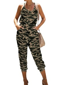 Zomer casual camou print halter jumpsuit