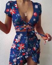 Party Floral Print Cutout Strings Wrapped Mini Dress
