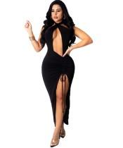 Sexy einfarbiges rückenfreies langes Partykleid mit tiefem V-Schlitz