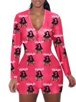 Getailleerde pyjama-rompertjes met V-hals en herfstprint