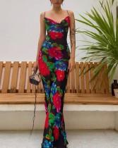 Vestido largo de tirantes con estampado floral ocasional