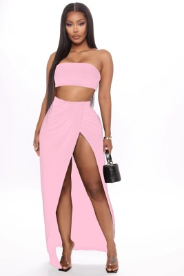 Sexy Solid Color Bandeau Top and Irregular Long Skirt Set