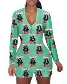 Sonbahar Baskı V Yaka Fitted Pijama Tulum
