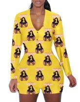 Macacão de pijama com estampa de outono e decote em V