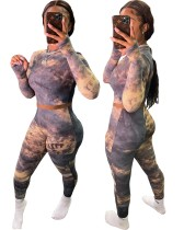 Autumn Tie Dye Matching Sexy Fitted Crop Top and High Waist Pants