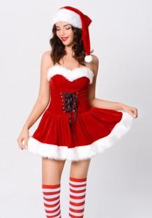 Costume de Noël pour femme Robe patineuse sans bretelles rouge avec chapeau