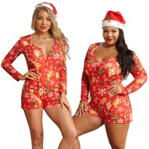 Grote maten pyjama-rompertjes met kerstprint