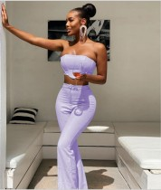 Party Sexy Solid Color Strapless Crop Top and High Waist Pants Set
