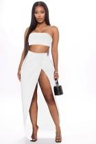 Conjunto de top bandeau sexy de color sólido y falda larga irregular
