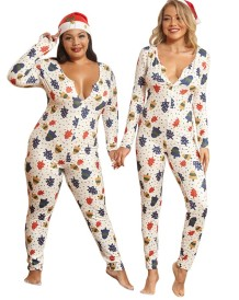 Plus Size Christmas Print Pajama Jumpsuit