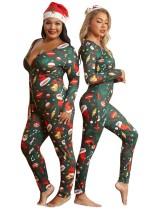 Macacão de pijama com estampa de natal plus size