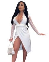Осеннее белое сексуальное вечернее платье с глубоким V-образным вырезом и запахом