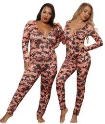 Plus-size pyjama-jumpsuit met herfst-camou-print