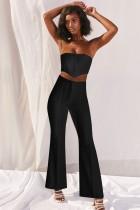 Party Sexy Crop Top sin tirantes de color sólido y conjunto de pantalones de cintura alta