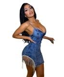Party Sexy Tassels Strap Mini Denim Dress