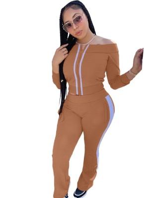Conjunto de calça e blusa com zíper de ombro combinando outono