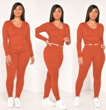 Autumn Casual Solid Color Matching V-Neck Shirt and Pants Set