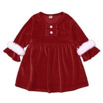 Vestido skater rojo para fiesta de Navidad para niña