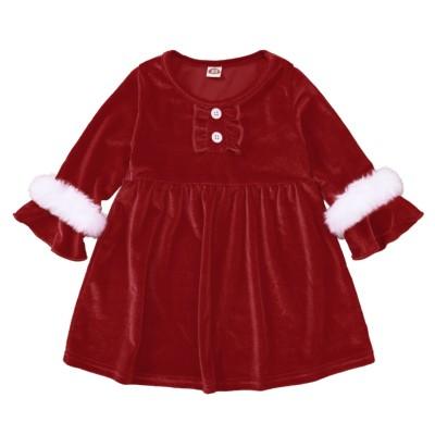 Kids Girl Christmas Party Red Skater Dress