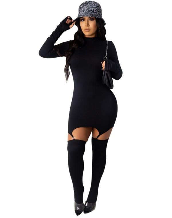 Vestido ajustado de manga larga de color sólido de otoño con media a juego