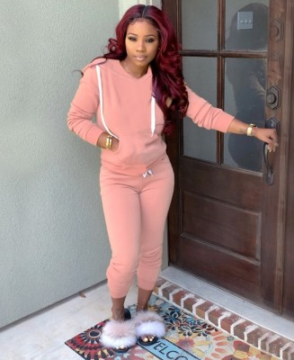 Long Sleeve Blank Pocketed Hoody Sweatsuit