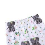 Leggings floreali con stampa autunnale per bambina