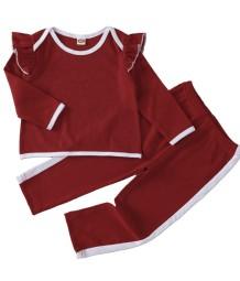 Conjunto de camisa e calça com babados para crianças menina outono contraste