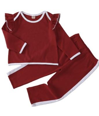 Kids Girl Autumn Contrast Trims Ruffle Shirt and Pants Set